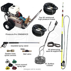 Pressure-Pro Deluxe Start Your Own Pressure Washer Kit w/ Aluminum Frame, Belt-Drive & Electric Start Honda Engine
