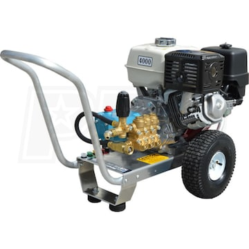 Pressure-Pro E4040HC Professional 4000 PSI Gas-Cold Water Aluminum Frame  Pressure Washer w/ Honda GX 390 Engine & CAT Pump