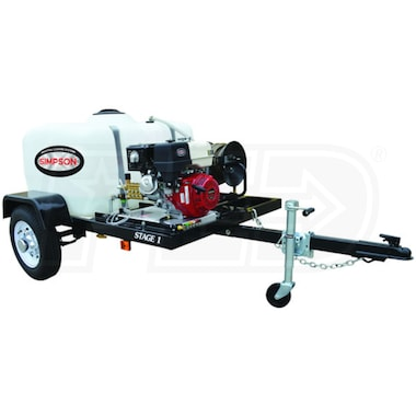 Simpson Professional 3200 PSI (Gas - Cold Water) Pressure Washer Trailer w/ Honda Engine
