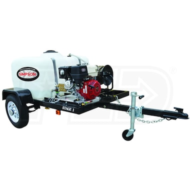 Simpson Professional 3800 PSI (Gas - Cold Water) Pressure Washer Trailer w/ Honda Engine