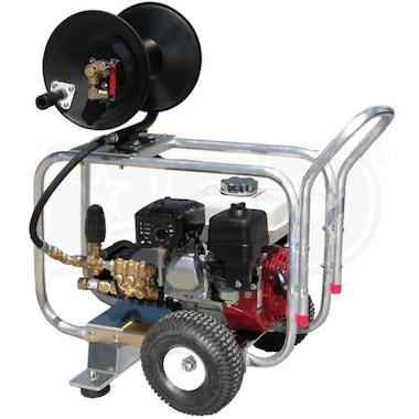 Pressure-Pro Pro-Jet Professional 2400 PSI (Gas - Cold Water) Aluminum Frame Drain Cleaner Jetter w/ Honda Engine
