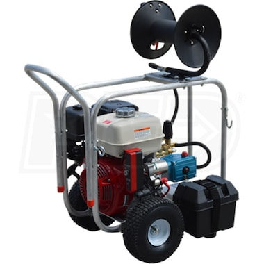 Pressure-Pro Professional 4000 PSI (Gas-Cold Water) Roll Cage Frame Pressure Washer w/ Electric Start Honda, CAT, & Hose Reel